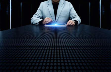 Businessman pressing button. Innovation technology internet business concept. Space for text. Stock Photo
