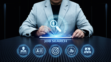 Job Search Human Resources Recruitment Career Business Internet Technology Concept. Stock Photo