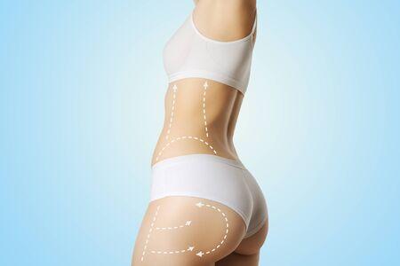 Beautiful perfect slim female body fitness woman