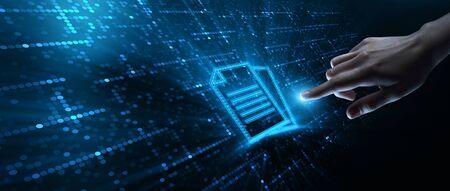 Concepto de tecnología empresarial del sistema de datos de gestión de documentos Foto de archivo