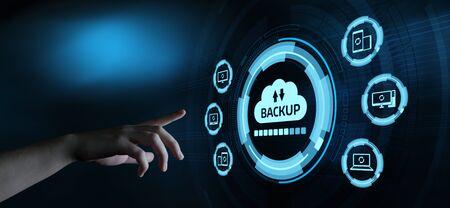 Concepto de negocio de tecnología de Internet de datos de almacenamiento de copia de seguridad.