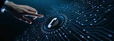 Llame ahora Centro de soporte de comunicación empresarial Concepto de tecnología de servicio al cliente