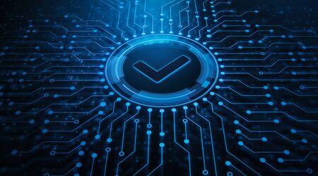 Standardowa kontrola jakości Certyfikacja Gwarancja zapewnienia bezpieczeństwa Koncepcja technologii biznesowych w Internecie Zdjęcie Seryjne