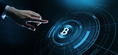 Bitcoin Cryptocurrency Currency Technology Business Internet Concept. Stock Photo