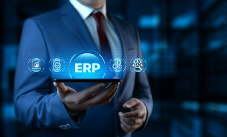Enterprise Resource Planning ERP Corporate Company Management Business Internet Technology Concept 스톡 콘텐츠