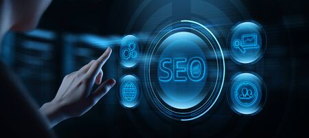 SEO Search Engine Optimization Marketing Ranking Traffic Website Internet Business Technology Concept 스톡 콘텐츠