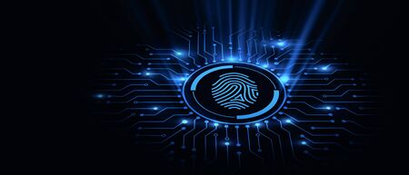 Fingerprint scan provides security access with biometrics identification. Business Technology Safety Internet Concept. 스톡 콘텐츠