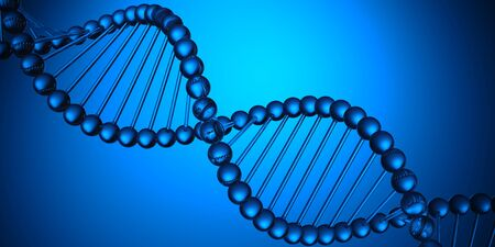 Blue DNA structure science research biology and medical concept.
