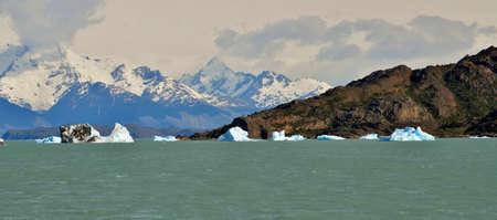 calafate: GLACIER,  GLOBAL WARMING,PERITO MORENO,  EL CALAFATE,PATAGONIA,ARGENTINA Stock Photo