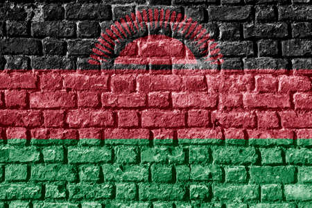 Malawi Flag Painted on brick wall