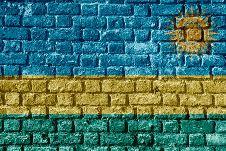 Rwanda Flag Painted on brick wall Stock Photo