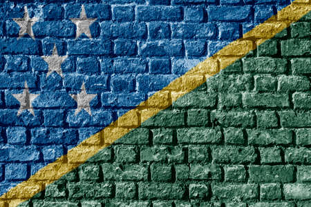 Solomon Islands Flag Painted on brick wall