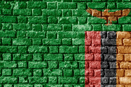 Zambia Flag Painted on brick wall