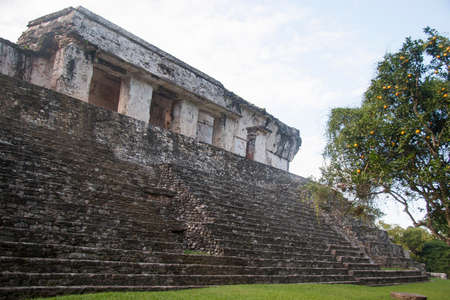first nations: Archaeological zone of Palenque Stock Photo