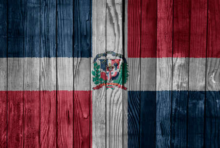 Dominican Republic    FLAG PAINTED ON WOOD