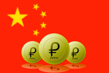 Three Petros cryptocurrency with China flag on background.