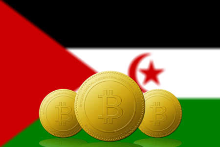 Three Bitcoins cryptocurrency with Occidental Sahara flag on background.