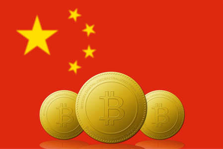 Three Bitcoin cryptocurrency with CHINA flag on background.
