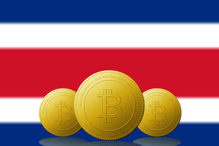 Three Bitcoins cryptocurrency with Costa Rica flag on background.