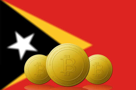 Three Bitcoins cryptocurrency with East Timor flag on background. 版權商用圖片