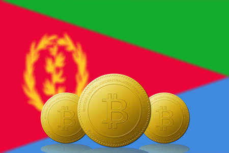 Three Bitcoins cryptocurrency with Eritrea flag on background.