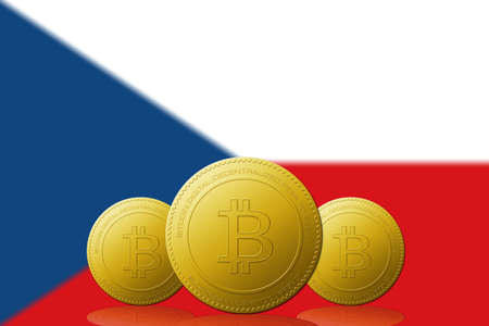 Three Bitcoins cryptocurrency with Czech Republic flag on background.