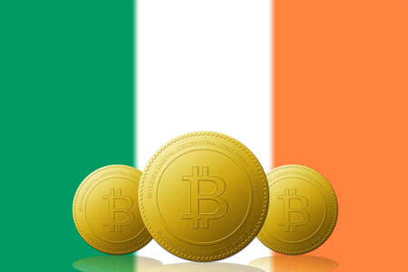 Three Bitcoins cryptocurrency with Ireland flag on background.