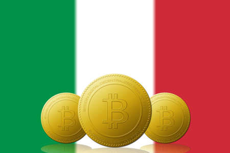 Three Bitcoins cryptocurrency with Italy flag on background. 版權商用圖片