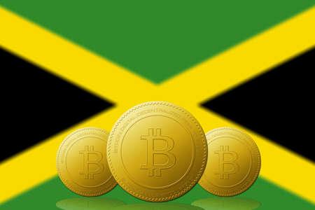 Three Bitcoins cryptocurrency with Jamaica flag on background. 版權商用圖片