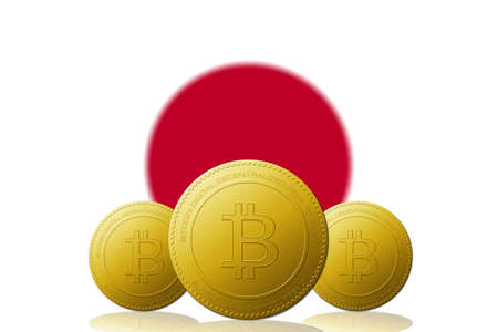 Three Bitcoins cryptocurrency with Japan flag on background.