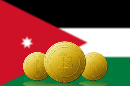 Three Bitcoins cryptocurrency with Jordan flag on background.