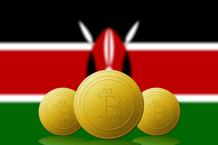 Three Bitcoins cryptocurrency with Kenya flag on background.
