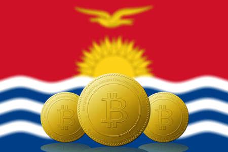 Three Bitcoins cryptocurrency with Kiribati flag on background.