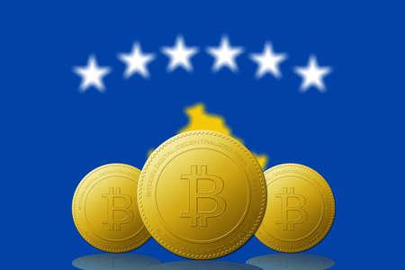 Three Bitcoins cryptocurrency with Kosovo flag on background. 版權商用圖片