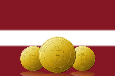 Three Bitcoins cryptocurrency with Latvia flag on background.