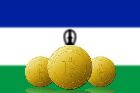 Three Bitcoins cryptocurrency with Lesotho flag on background.