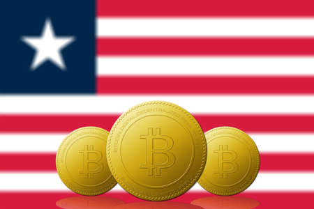 Three Bitcoins cryptocurrency with Liberia flag on background.