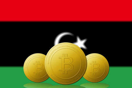 Three Bitcoins cryptocurrency with Libya flag on background.