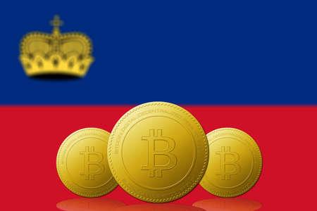 Three Bitcoins cryptocurrency with Liechtenstein flag on background.
