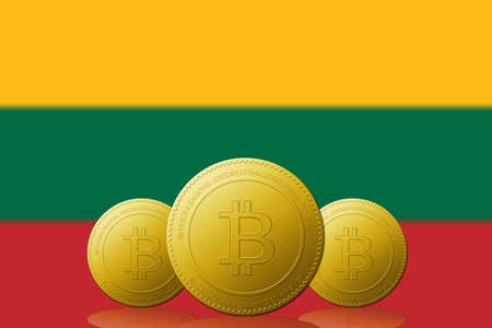Three Bitcoins cryptocurrency with Lithuania flag on background.