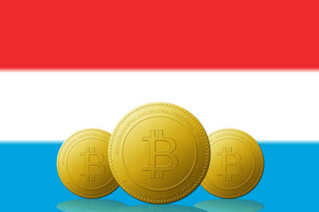 Three Bitcoins cryptocurrency with Luxembourg flag on background.