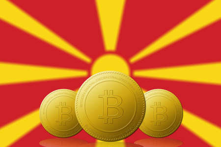 Three Bitcoins cryptocurrency with Macedonia flag on background.