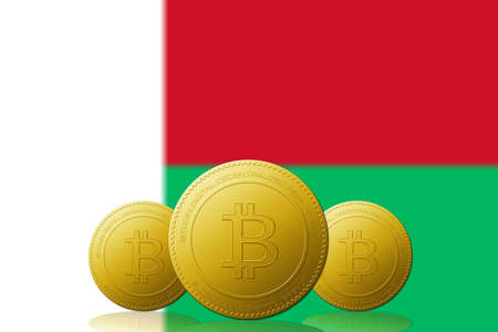 Three Bitcoins cryptocurrency with Madagascar flag on background. 版權商用圖片