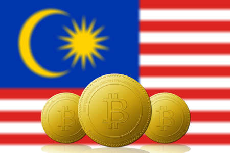 Three Bitcoins cryptocurrency with Malaysia flag on background.