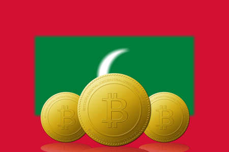 Three Bitcoins cryptocurrency with Maldives flag on background.