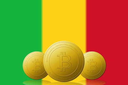 Three Bitcoins cryptocurrency with Mali flag on background. 版權商用圖片