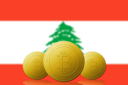 Three Bitcoins cryptocurrency with Lebanon flag on background.