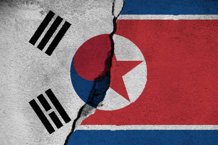 3d illustration North And South Korea relationships 版權商用圖片