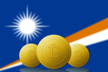 Three Bitcoins cryptocurrency with Marshall Islands flag on background.