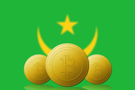 Three Bitcoins cryptocurrency with Mauritania flag on background.